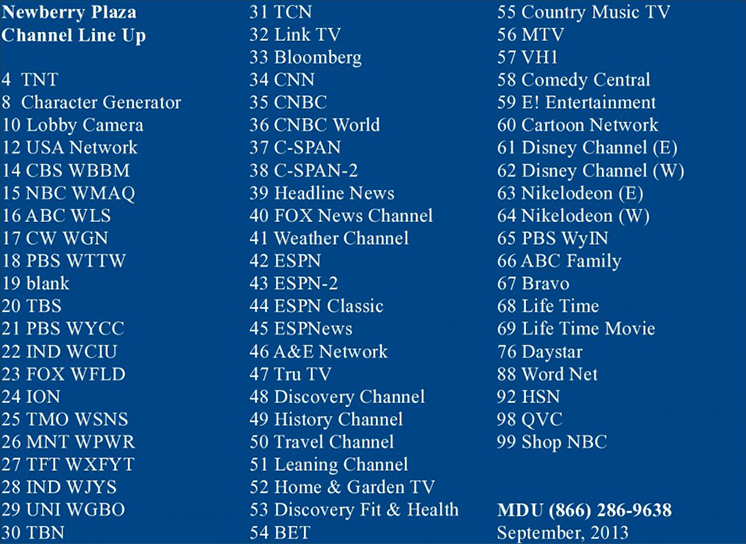 TV Channel Listing | Welcome to 1030 North - Newberry Plaza